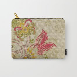 Raw Linen Texture Vines and Flowers // Art Nouveau Butterfly Carry-All Pouch