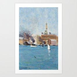 Arthur Streeton, CIRCULAR QUAY, SYDNEY HARBOUR Art Print