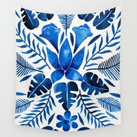 navy Wall Tapestries featuring Tropical Symmetry – Navy by Cat Coquillette