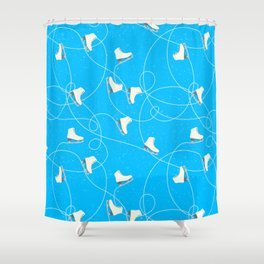 Winter Pattern Ice Skating Blue Background Shower Curtain