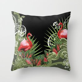 Baroque Flamingos Throw Pillow