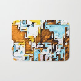 yellow brown and blue Bath Mat