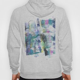 Green Blue Abstract with Black Circles Hoody