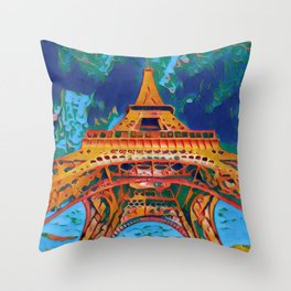 France Tour Eiffel Artistic Illustration Bipolar Painting Throw Pillow
