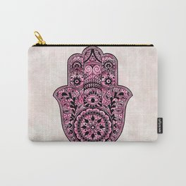 Watercolor Black  Pink Hamsa Hand Carry-All Pouch
