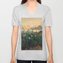 Flowered Riverbank, Argenteuil, Claude Monet Unisex V-Neck