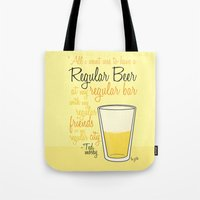 how i met your mother Tote Bags featuring Tv drink quotes [how i met your mother] by Fabio Castro