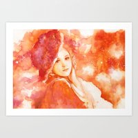 princess Art Prints featuring Princess by Rory on a Rainbow