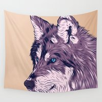 wolf Wall Tapestries featuring Blue eyed wolf by Roland Banrevi