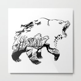 Wild Bear Try to Protect The Jungle with The Jaws Metal Print