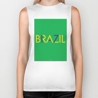 brazil Biker Tanks featuring BRAZIL by try2benice