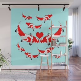 Koi Fish Kisses Wall Mural