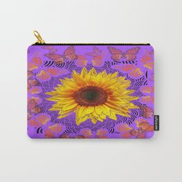 Monarch Butterflies Love Sunflowers Purple Pattern Abstract Carry-All Pouch