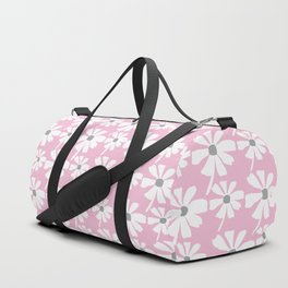 Daisies In The Summer Breeze - Pink Grey White Duffle Bag