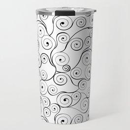 Abstract black white hand drawn swirls pattern Travel Mug