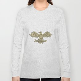 American Eagle Clutching Spanner Drawing Long Sleeve T-shirt