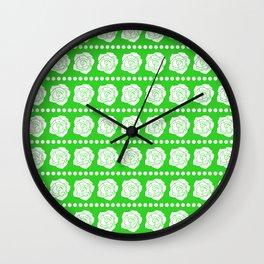 Simple White Roses - Green BG Wall Clock