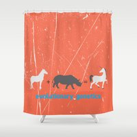 evolution Shower Curtains featuring Evolution by Tony Vazquez