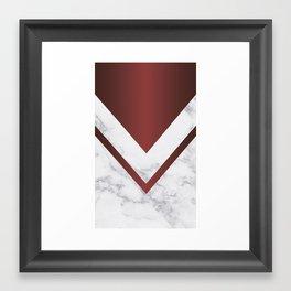 Navy red arrow & white marble Framed Art Print