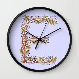 Leafy Letter E Wall Clock