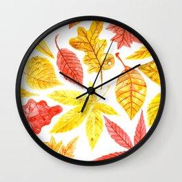 Atumn leaves watercolor Wall Clock