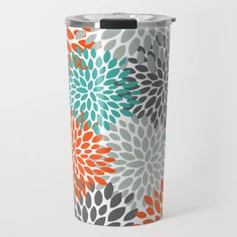 Floral Pattern, Abstract, Orange, Teal and Gray Travel Mug