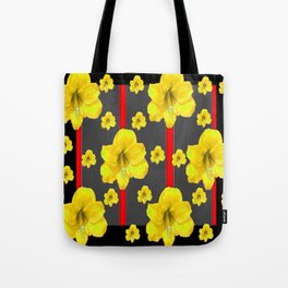 YELLOW AMARYLLIS BLACK-RED DECO ART Tote Bag
