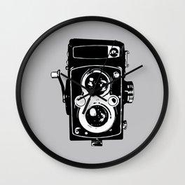 Big Vintage Camera Love - Black on Grey Background Wall Clock