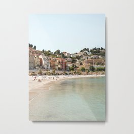 French Riviera Beach Photo | Pastel Summer In Menton, France Art Print | Europe Travel Photography Metal Print
