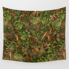 Traditional Holly Christmas Pattern Wall Tapestry