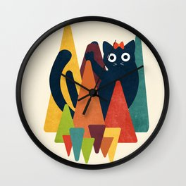 Cute Cat on Colorful Triangle Wall Clock