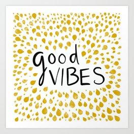 Good Vibes - Yellow Art Print