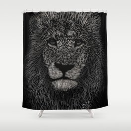 African Typography Lion Shower Curtain