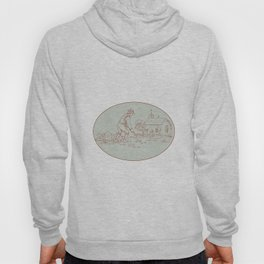 Medieval Grave Digger Shovel Oval Drawing Hoody