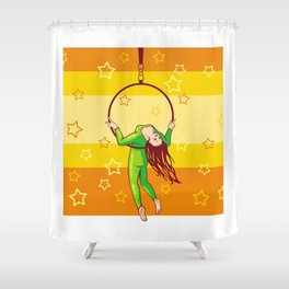 Trapeze-artist under the Circus dome Shower Curtain