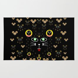 Merry black cat in the night and a mouse involved pop-art Rug