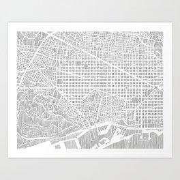 barcelona map print Art Print