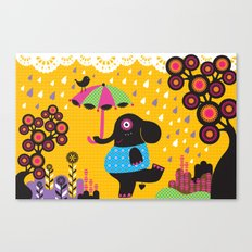 Elephant dancing in the rain Canvas Print