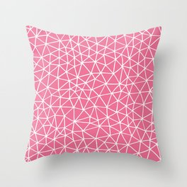 Connectivity - White on Pink Throw Pillow