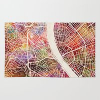 budapest hotel Area & Throw Rugs featuring Budapest  by MapMapMaps.Watercolors