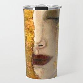 Gustav Klimt portrait The Kiss & The Golden Tears (Freya's Tears) No. 2 Travel Mug