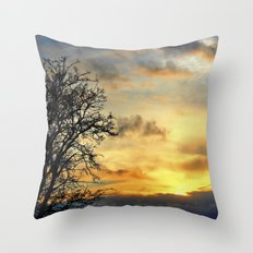 Tree Silhouettes at Sunset  Throw Pillow