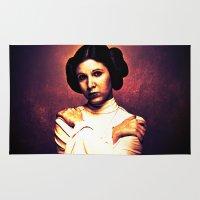 princess leia Area & Throw Rugs featuring Princess Leia | Star War Art by Freak Shop | Freak Products