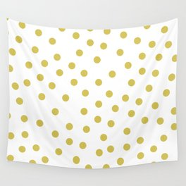 Simply Dots in Mod Yellow on White Wall Tapestry