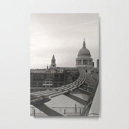 London St. Pauls and Millenium Bridge Metal Print