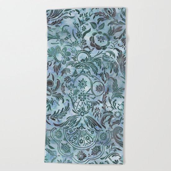 Watercolor Damask Pattern 08 Beach Towel