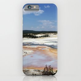 Mudpots and hot springs color the terrain in northwestern Wyomings Yellowstone National Park iPhone Case