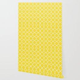 Buttercup Yellow Quatrefoil Wallpaper
