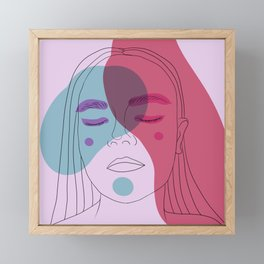 Girl with closed eyes Framed Mini Art Print