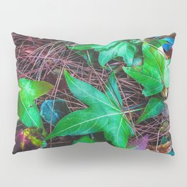 closeup green leaves on the dry grass Pillow Sham